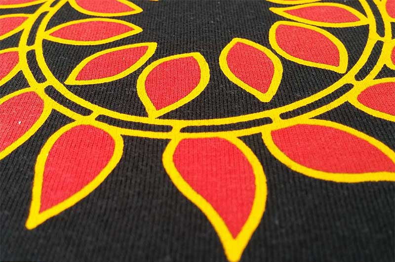 A Screen Printed design with Water Based Discharge Ink