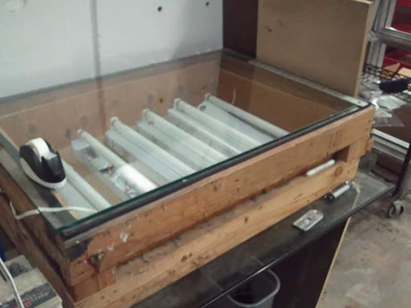 A old Screen Printing Exposure Unit With neon tubes